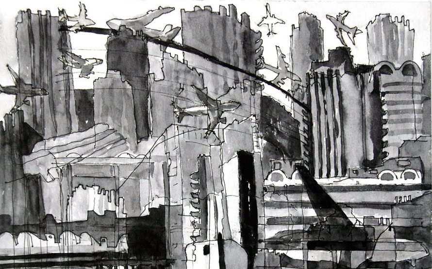 Barbican planes 2006 - Detail (Ink) (24x24)