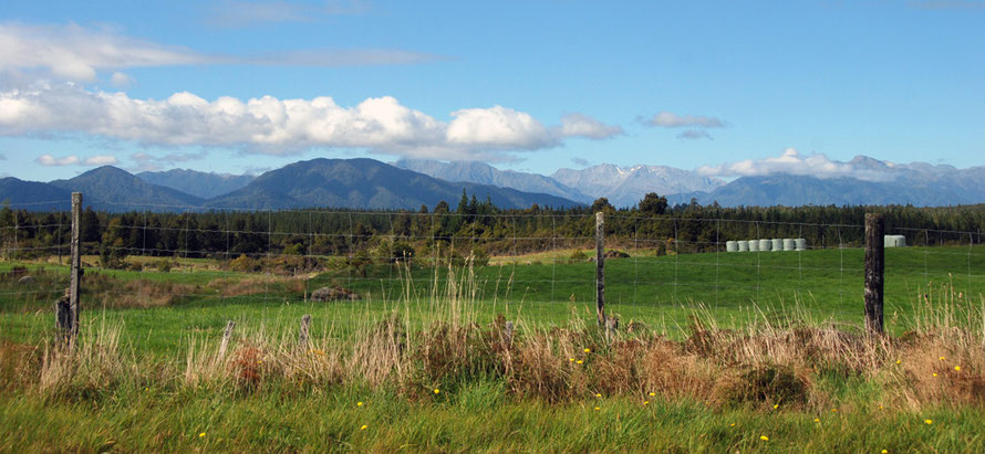 'Let me live in my house by the side of the road and be a friend to man [and woman]': Southern Alps view between Ross and Hokitika