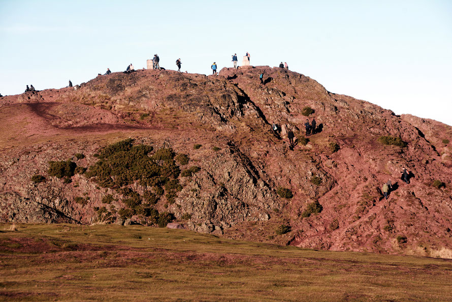People come and go. Arthur's Seat in late November sun.