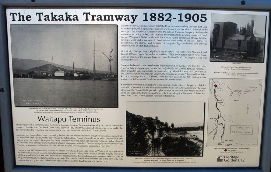 Takaka Tramway signage at Waitapu Wharf.
