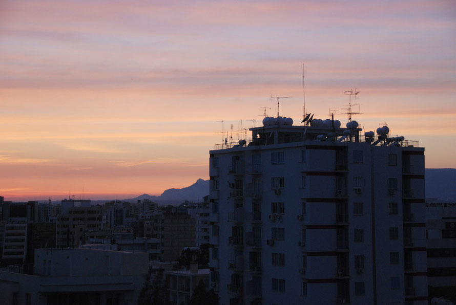 Sunset over Nicosia.