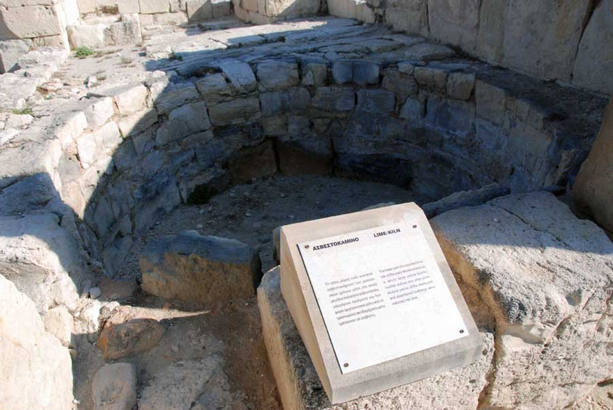 An early Medieval lime kiln in which marble statues and other architectural treasures destroyed by the earthquake of AD365) were reduced to lime powder, Kouri