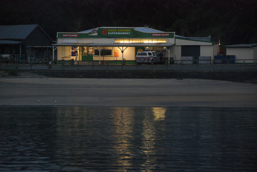 Four Square Supermarket and police car, Stewart Island. (Late summer, early morning)