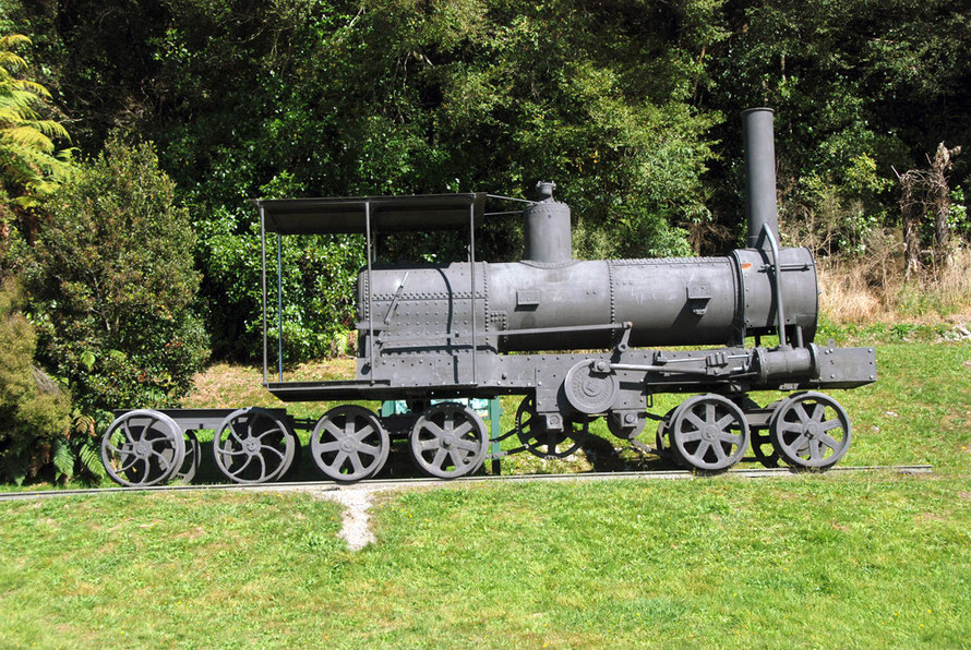 The magnificent Davidson Bush Locomotive, built in nearby Hokitika by G&D Davidson, the 25th of 26 locomotives built between 1907 and 1925