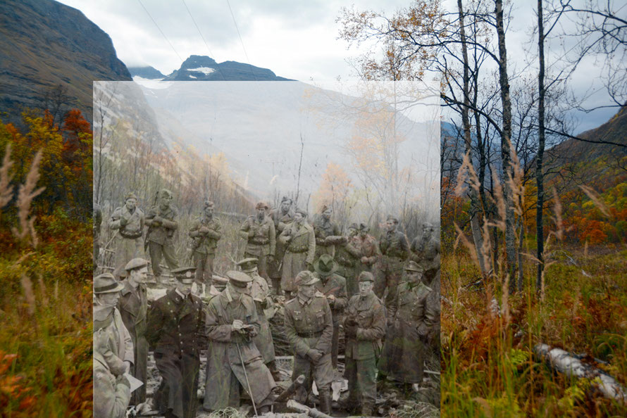 Two photos separated by seventy years. The site of the Mallnitz camp in September 2016 and the visit of the War Crimes Investigation team to the site in June 1945 captured by Bjorn Wisnes.
