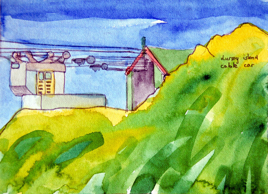 Dursey Island Cable Car, Beara Peninsula, Ireland (1983) (Watercolour) (Small) Fergus Murray