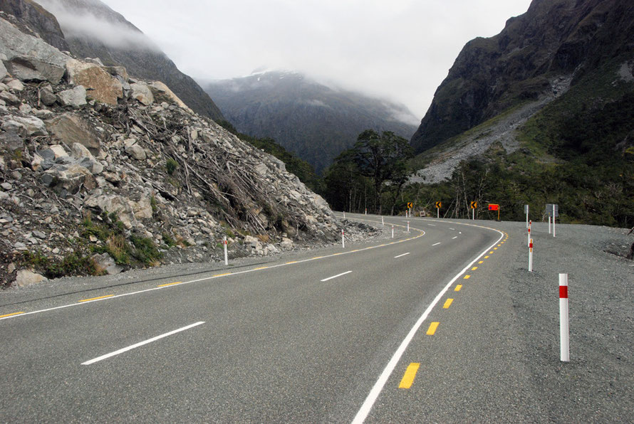 Absolutely no stopping: the site of a massive rock fall recently cleared from the Milford Road on the eastern approach to the Homer Tunnel in the Hollyford Valley.
