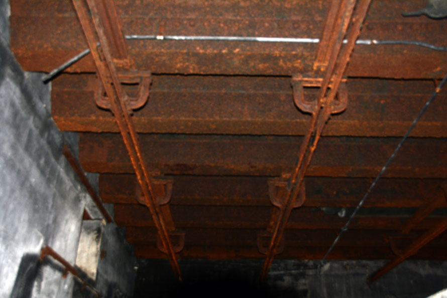 The roof rails used presumably to shift the shells to the entrance of the depot (which I could not get in focus).