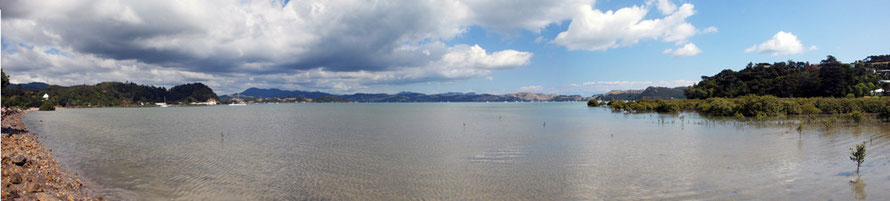 Panorama of Coromandel Harbour from Long Bay Road.
