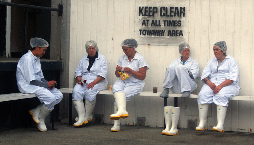 Women workers at Ngai Tahu Seafoods on a break, Bluff, NZ (iii).