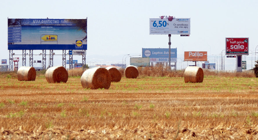 Billboards near Larnaca Airport.