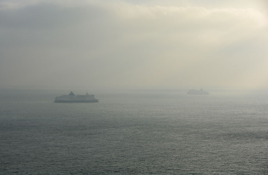 Like ships passing in the afternoon mist: cross channel ferries for Calais and Dunkerque.