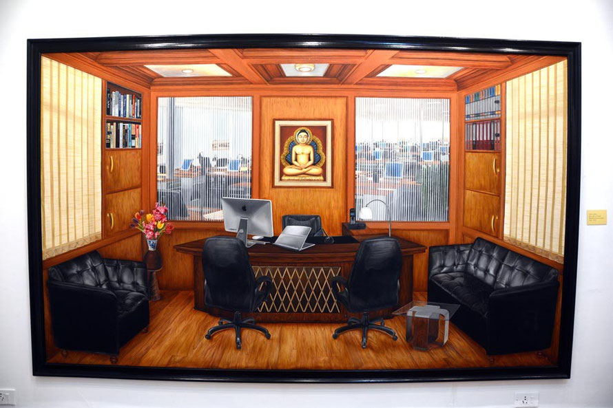 Tina Chandroji Office (120 x 72 Oil on Canvas, 2011)