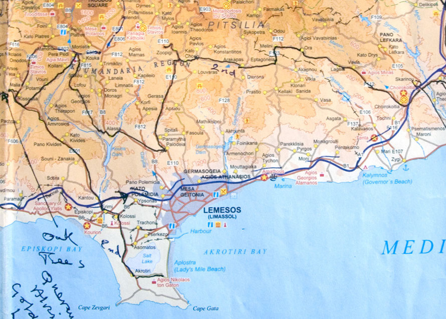 My route (black line) through the Pitsila and Limassol Hills from Khirokitia to Malia, January 2013 (CTO Map)