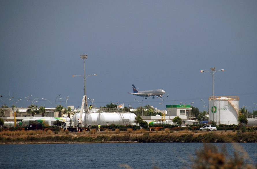 Larnaca airport, salt lake and fuel depot.