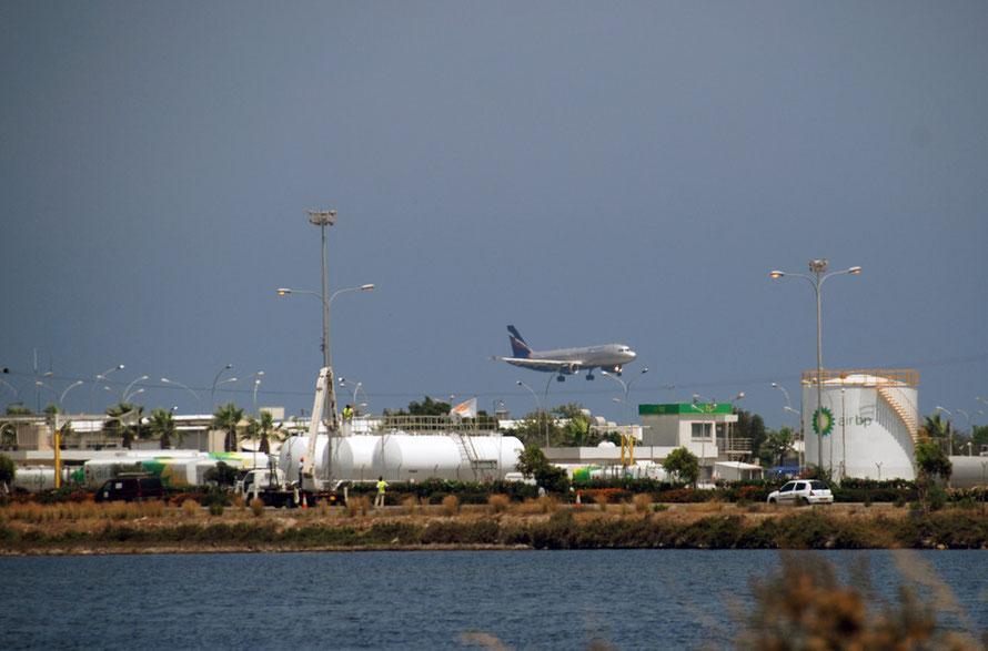 Larnaca airport, salt lake and fuel depot.