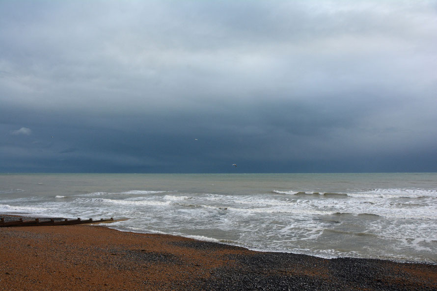The dramatic light of the passing cold front with the air scrubbed clean by the copious rain: St Margarets Bay, Kent.