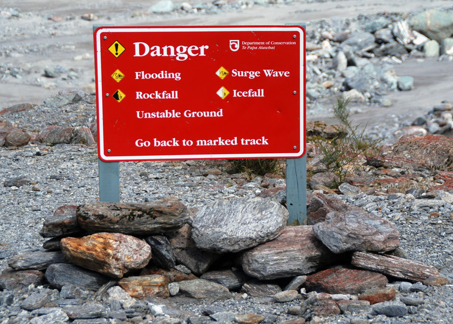 Fox Glacier valley warning sign