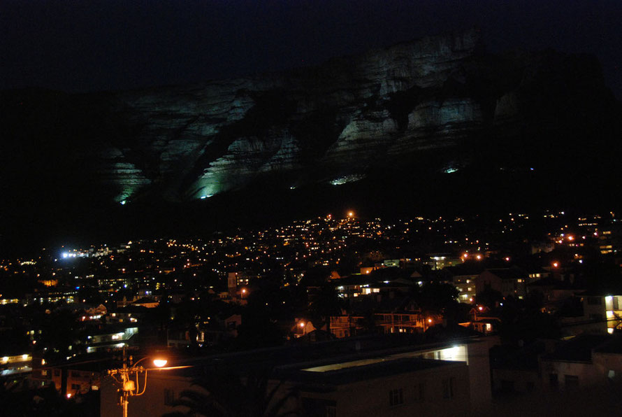 Table Mountain illuminated at night from Tamboerskloof
