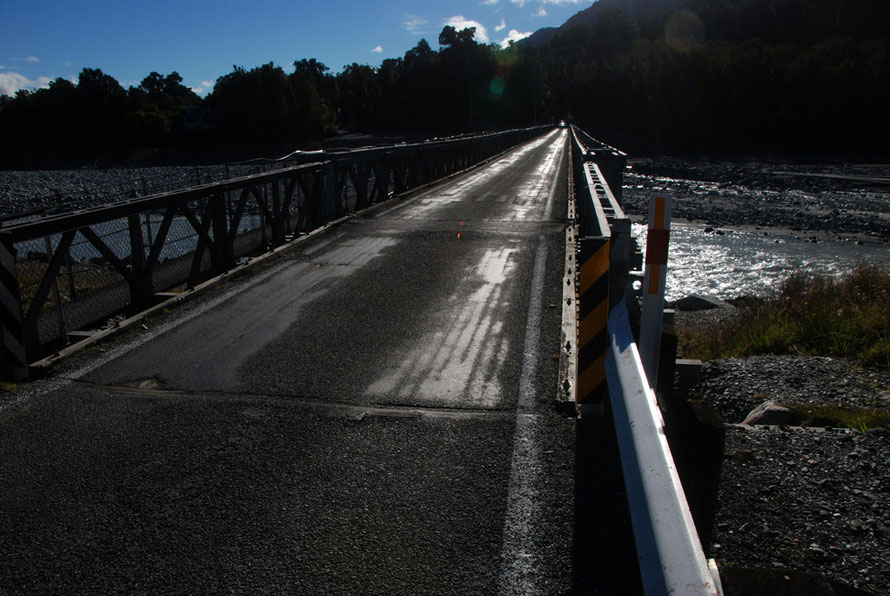 The single track bridge crossing the Waiho River on Highway 6 Hokitika bound.