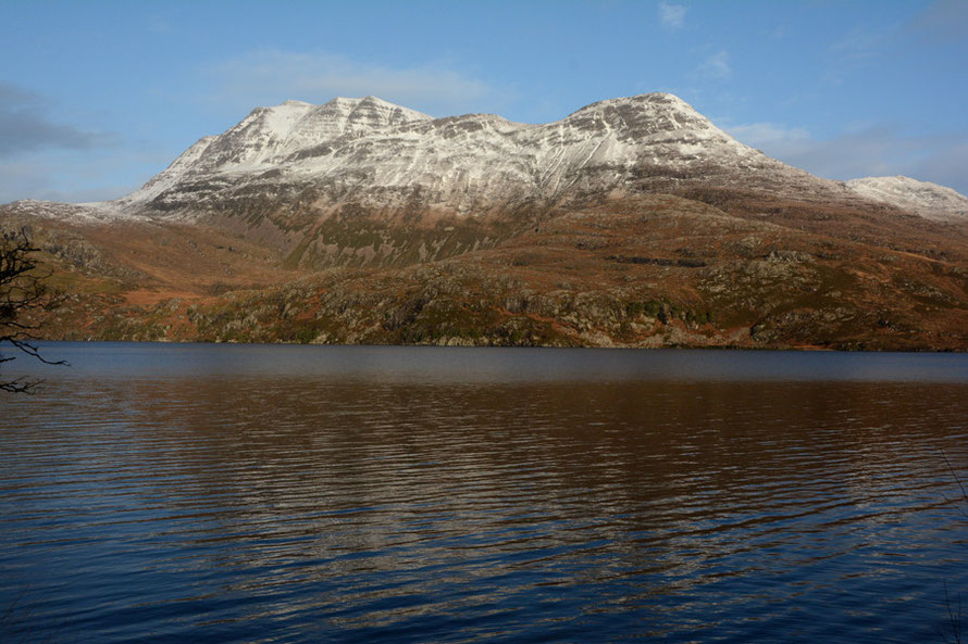 Slioch (980m) and Loch Maree showing their winter colours.
