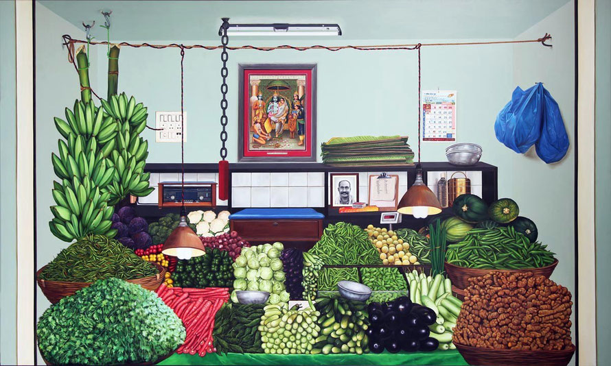 Tina Chandfroji Vegetable I (72 x 120 inches Oil on Canvas, 2011)