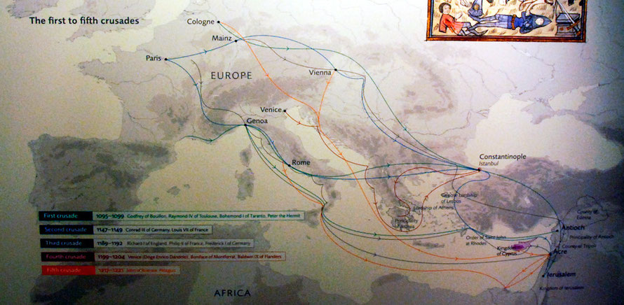 Ashmolean Museum, Oxford map of the 1st to 5th crusades