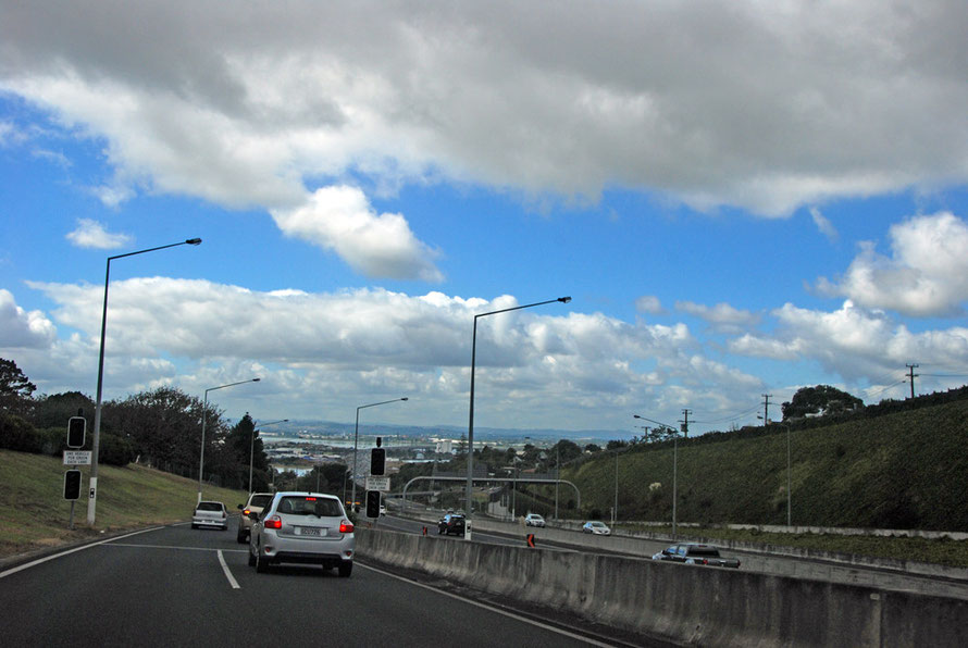 The Southern Motorway out of Auckland looking across the Tamaki River and the Mangere Inlet of the Manukau Harbour