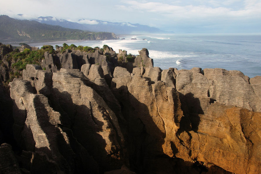 Pancake Rocks looking south to Seventeen Mile Bluff, West Coast.