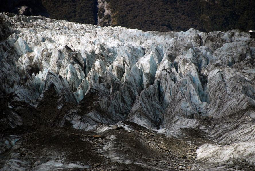Ice formations at the terminus of the Fox Glacier