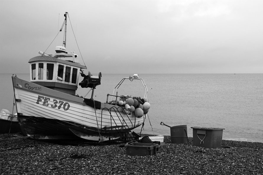 Coptic - FE 370 - at her shingle berth at Deal, Kent. Monchrome with added contrast, sharpness and brightness.