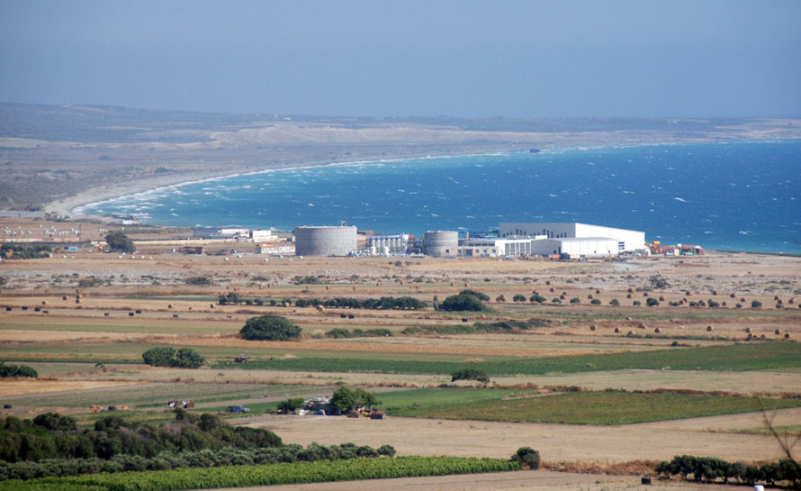 Episkopi Bay and the new desalination works, June 2012.