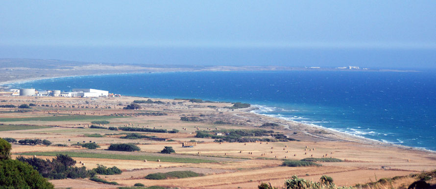 Episkopi Bay, the new desalination works and Cape Zevgari in the distance, June 2012.