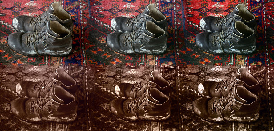 Boot variations: I took some tripod shots of my boots using different exposures and picture settings and knitted them together.