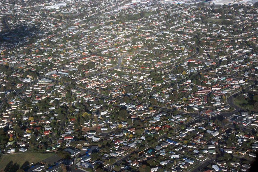 The low densite housing of Auckland's suburbs. This is Manurewa, 20km south of the Central Business district.