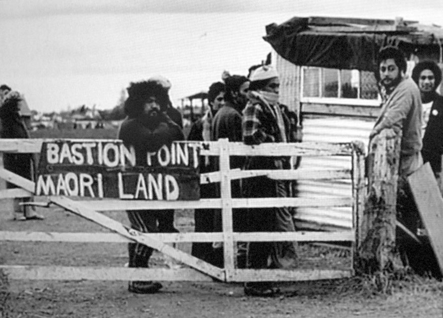 Land protest at Bastion Point/Takaparawhau near Auckland in the 1977-8. In 1988 the government announced that it had agreed to the Waitangi Tribunal's recommendation that Bastion Point be returned to