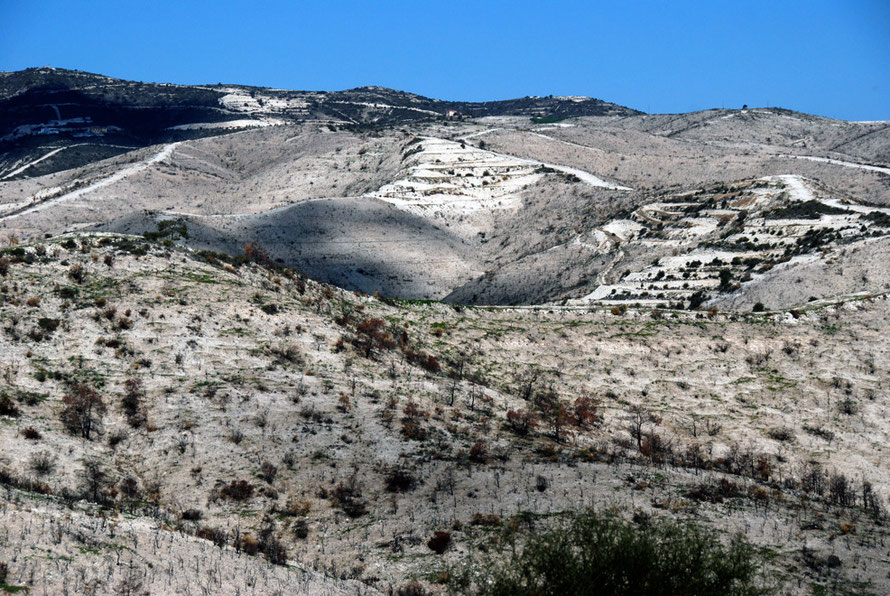 Burnt-out hills above Khirokitia village, January 2013