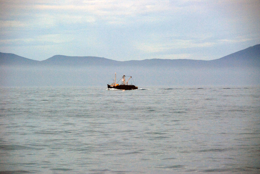 Oyster Boat (possibly) dredging for the sought-after Bluff Oyster in the Foveaux Strait with Stewart Island/Rakiura in the background.