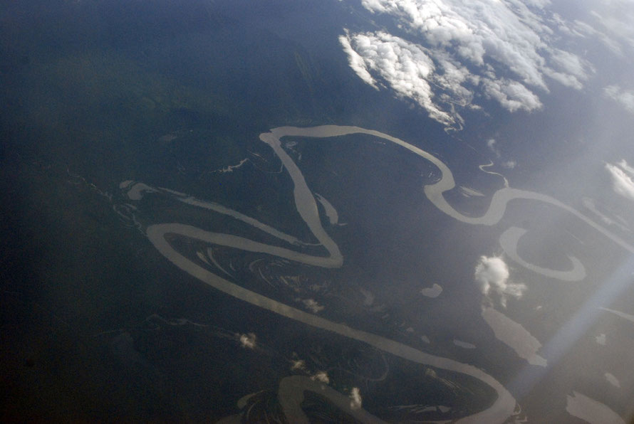 The serpentine curves of a river in Indonesian Papua