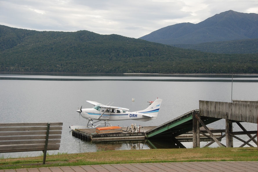Float-plane at Te Anau. There were 8,500 landings at the Milford Sound airstrip in 2004.
