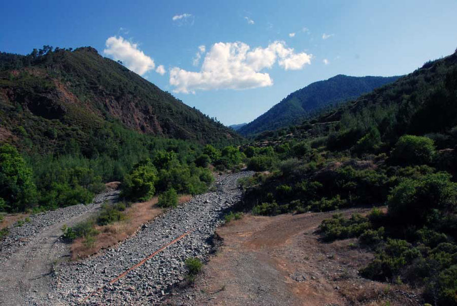 The dry Xeros river bed waiting for winter rains