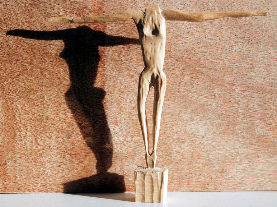 Crossed  Woman 2008 (Beech) (21x24x3) Fergus Murray
