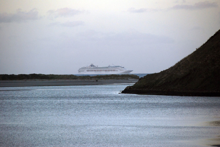 Like a ghost ship, this huge cruise vessel appeared at the end of the inlet making its way from Port Chalmers (Dunedin's cruise ship and container port) making its way out into the Pacific