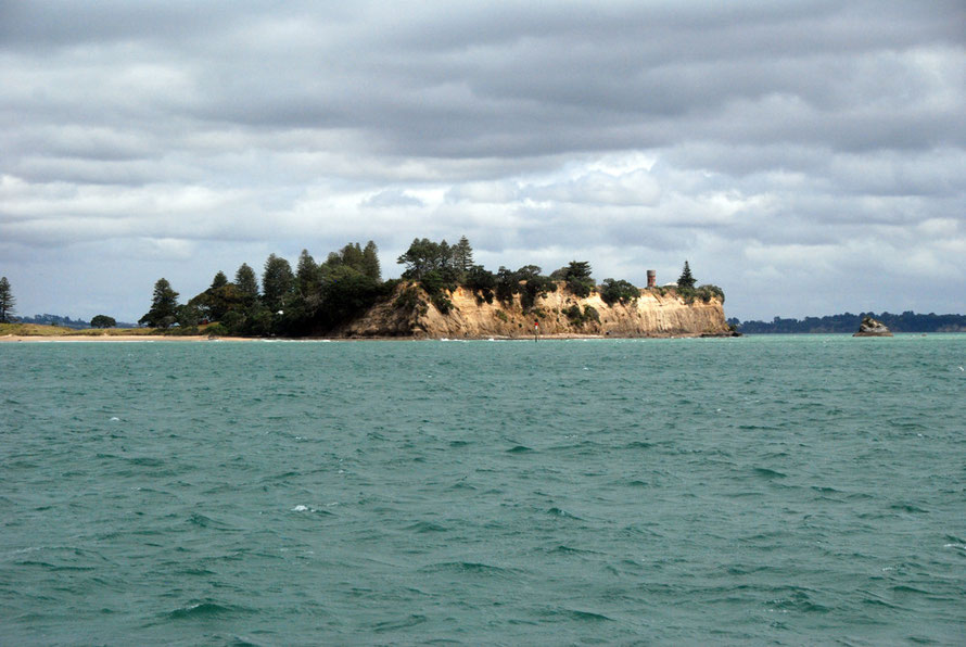 Close up of the cliffs at the southern end of Te-Motu-a-Ihenga/Motuihe Island in the Hauraki Gulf.