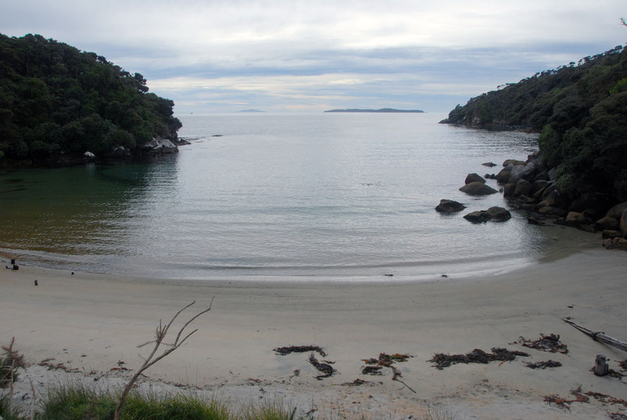 Harrolds Bay on Ackers Point, site of the first stone house on Stewart Island.