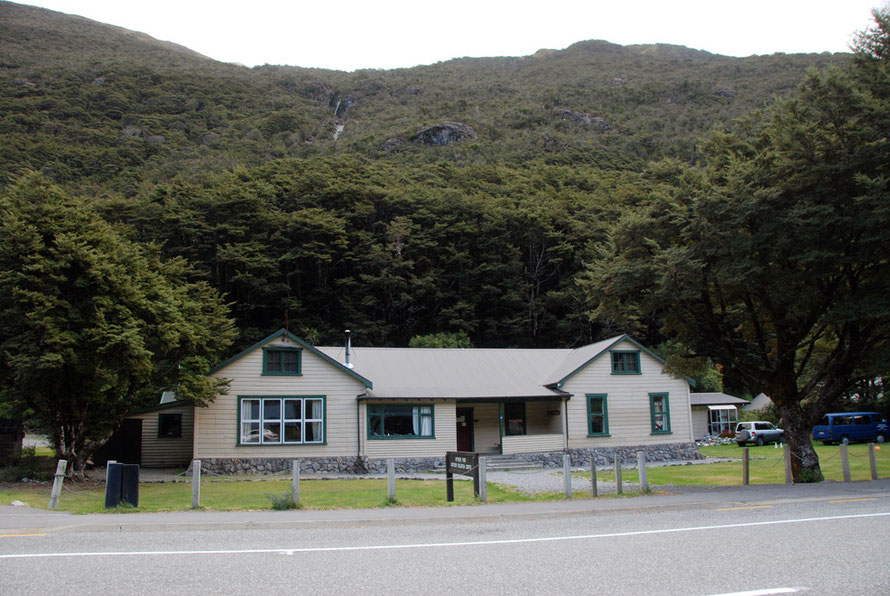Outdoor education centre at Authur's Pass township (pop.c50 - elevation 740m/2437ft) with dense beech forest behind