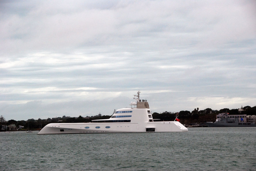 Aucland and the Hauraki Gulf are popular destinations with the super-rich. Here super-yacht 'A' is in town for a million dollar service before touring with owner Russian billionaire,  Andrey Melnichenko,