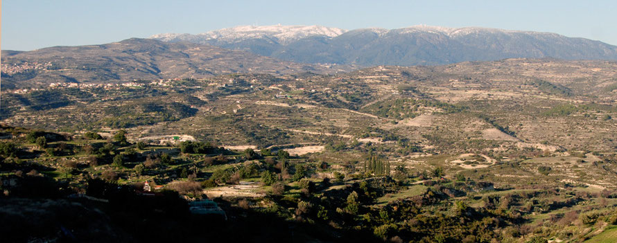 Panorama of Mount Olympus and the High Troodos, Commandaria Hills and the Kryos Valley, January 2013.