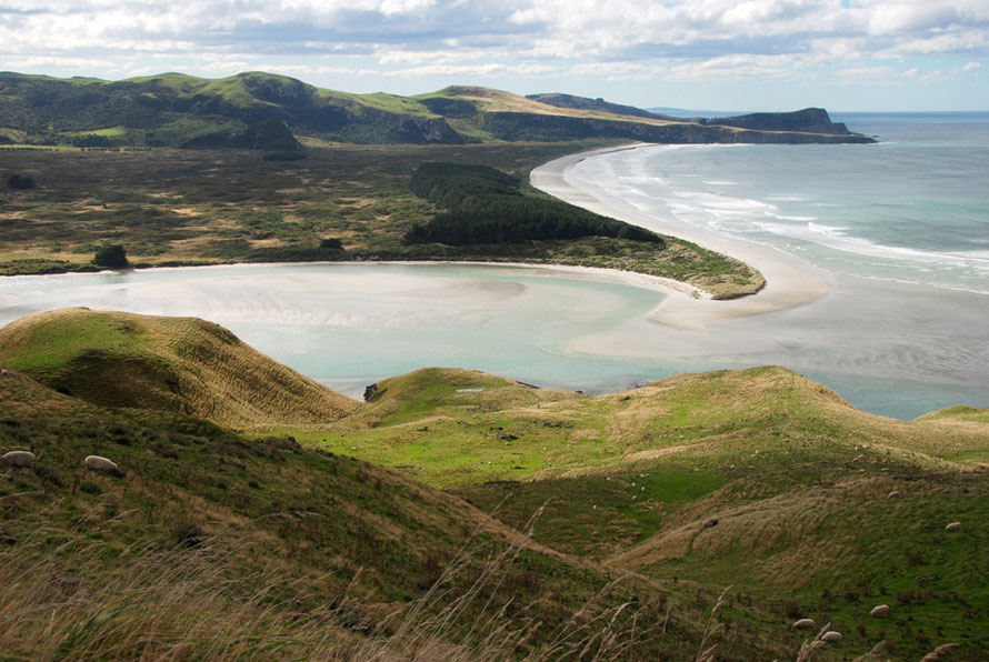 The mouth of Papanui Inlet and Victory Beach beyond and the headland of Te Whakarekaiwi and Pipikaretu Point.