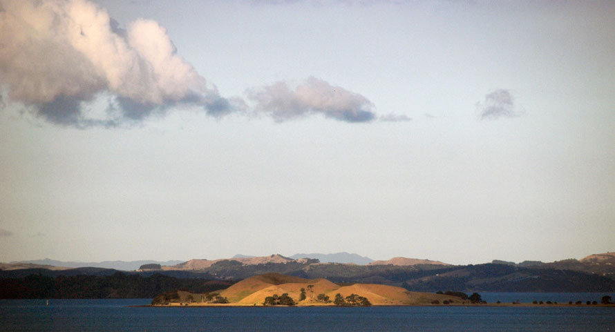 View of the inner Hauraki Gulf with Brown Island, Waiheke Island and the distant Coromandel Peninsula.